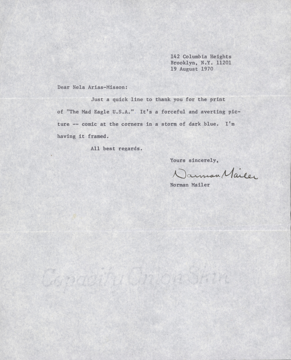 Letter from Norman Mailer to Nela Arias
