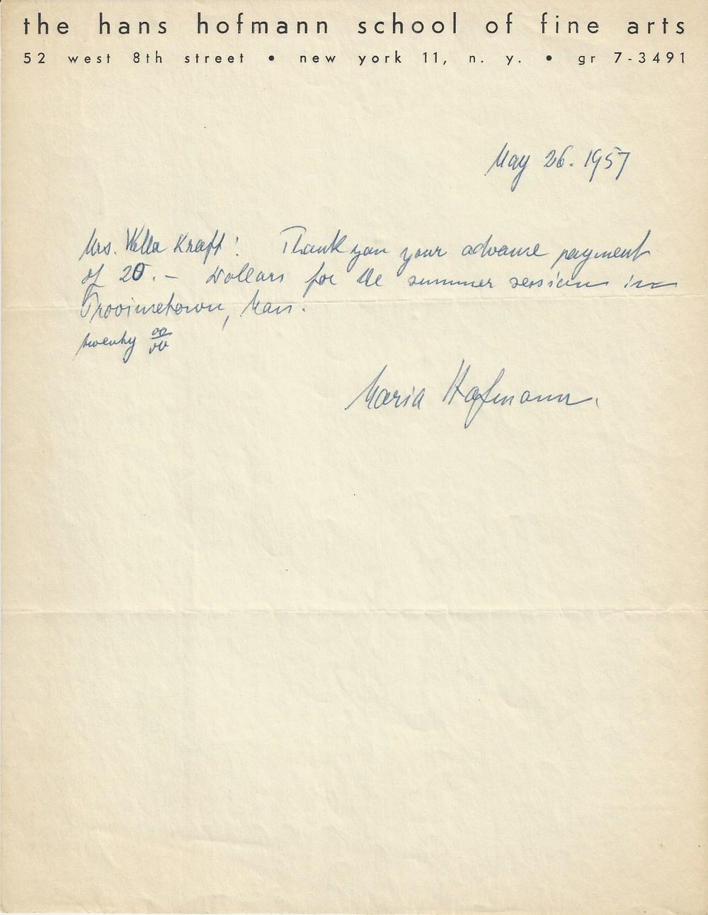 Receipt from Maria Hofmann to Nela Arias dated 1957