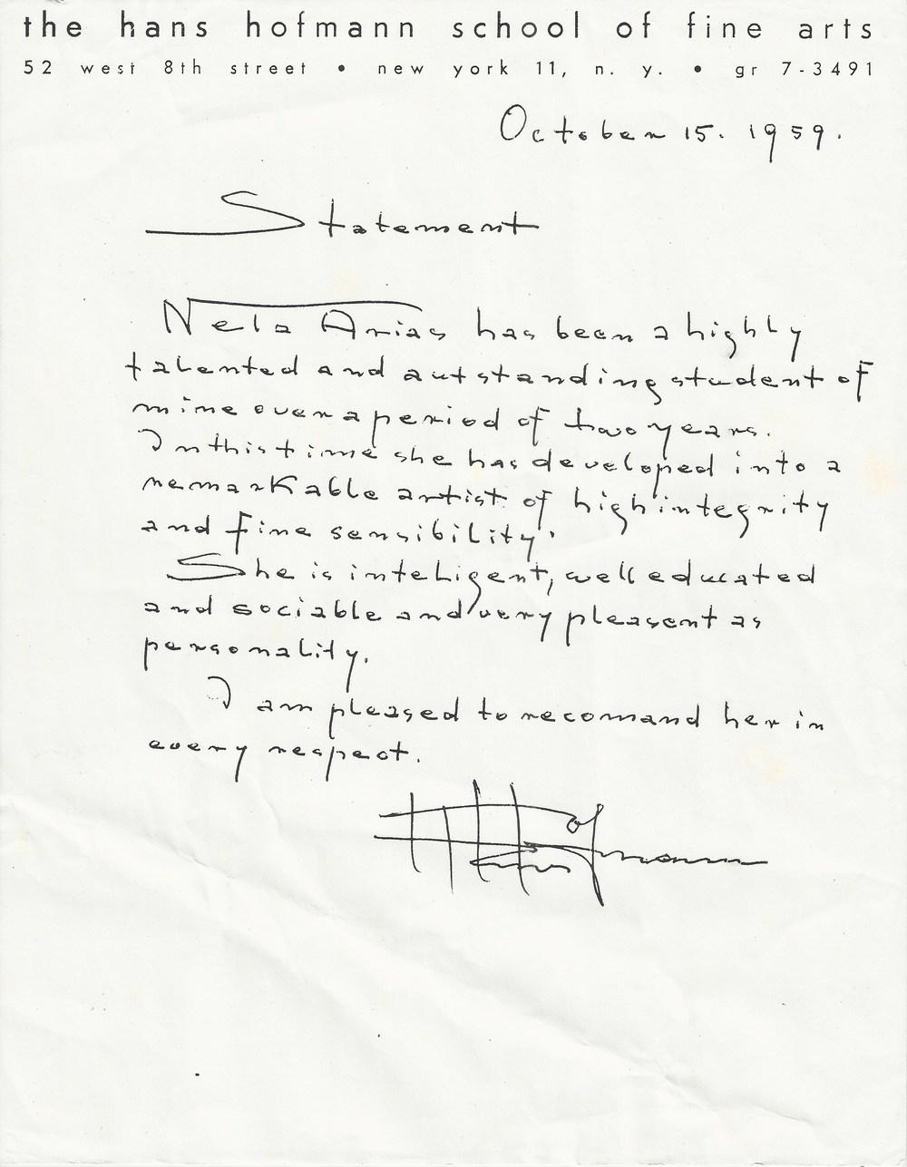 Hans Hofmann recommends Nela Arias