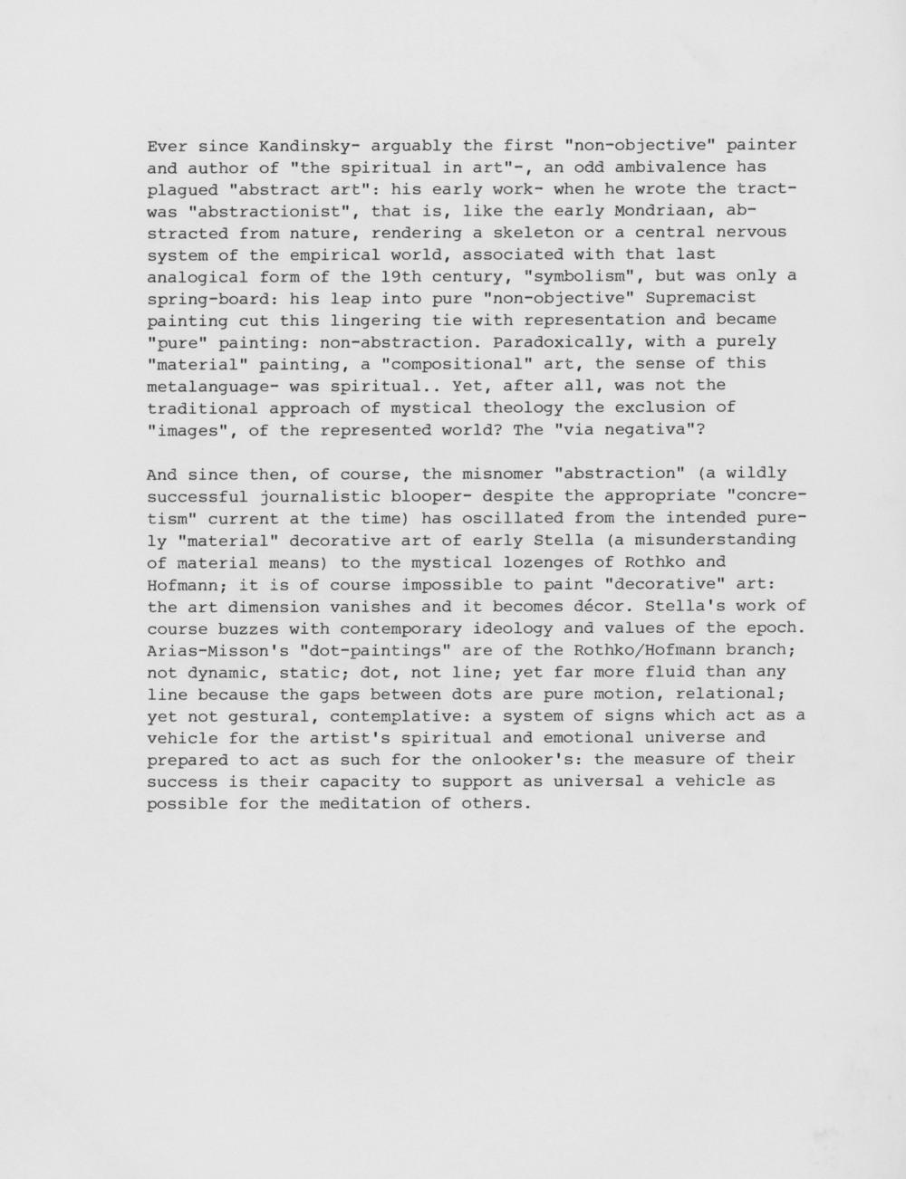 Unknown art critic compares Nela Arias to Frank Stella