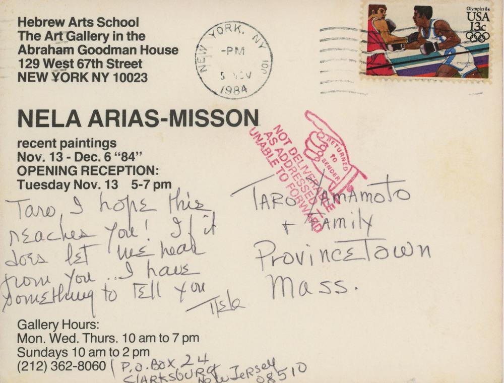 Postcard from Nela Arias to Taro Yamamoto 1984