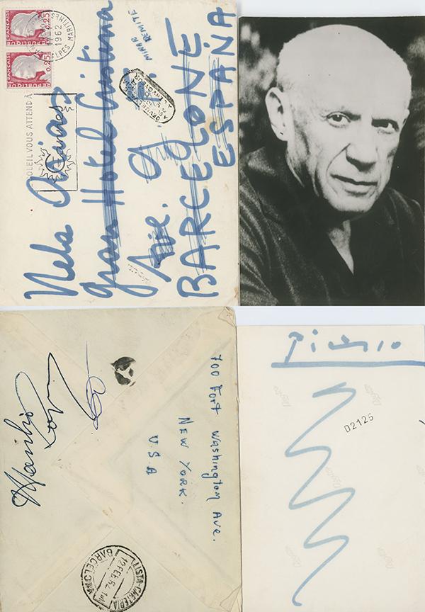 Postcard to Nela Arias signed by Picasso 1960