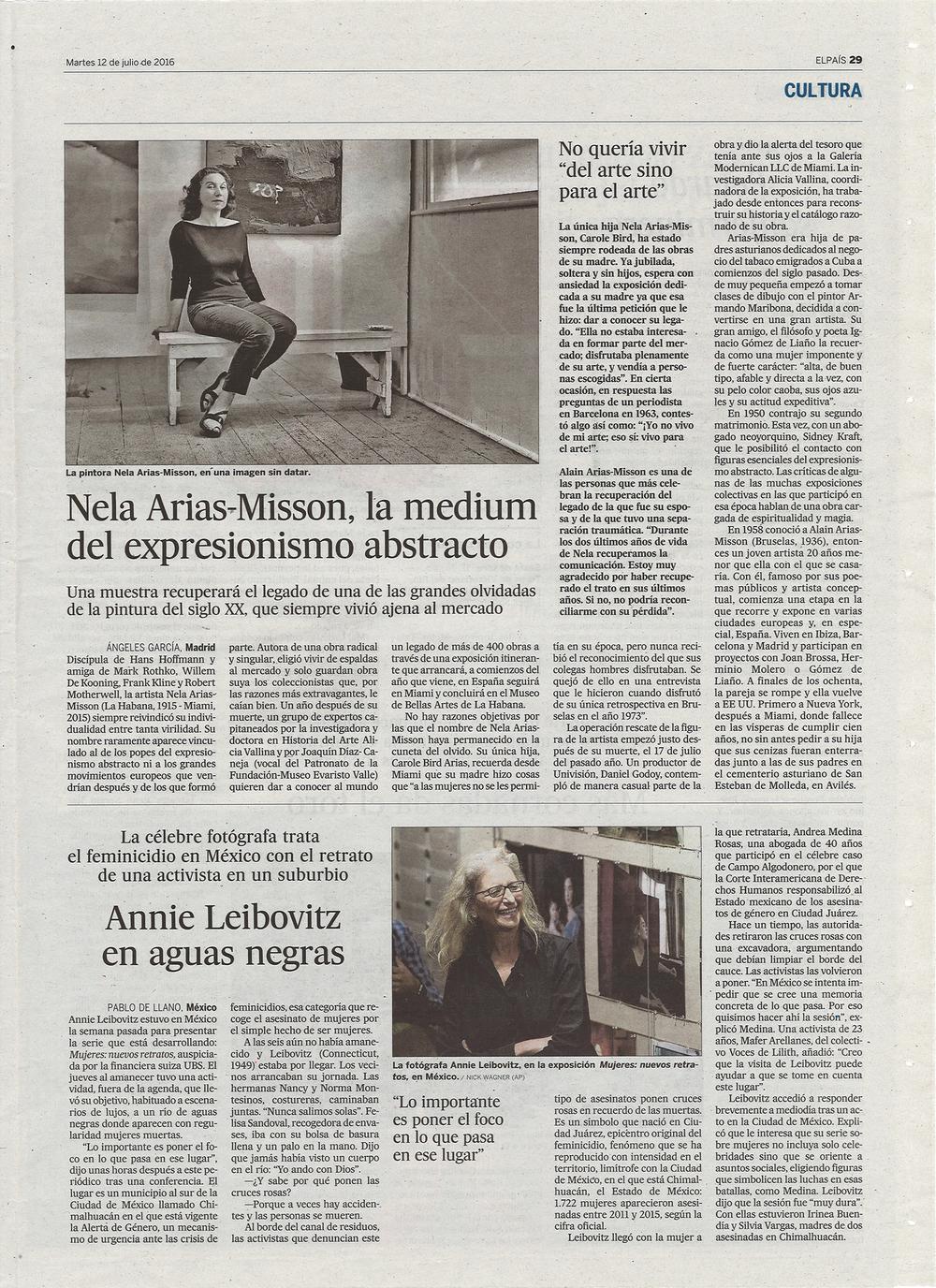 Article in EL PAIS July 12, 2016