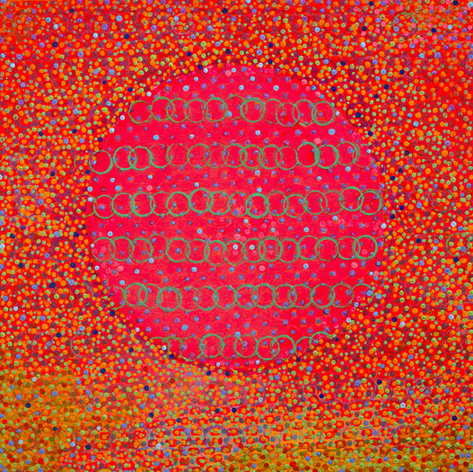 "Rosy Circle    acrylic on panel  12 x 12"" 2008"