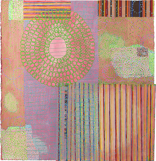 "Snail Mail    mixed media on paper 20 x 19.5"" 2010"