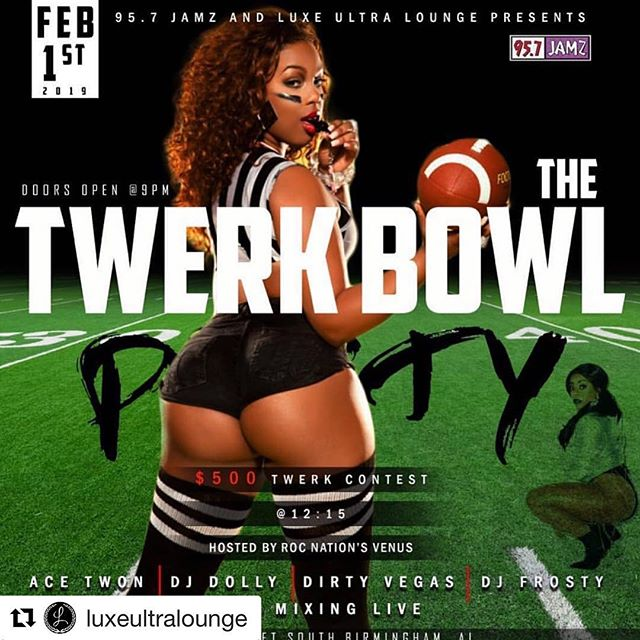 #Repost @luxeultralounge with @get_repost ・・・ TONIGHT🔥$500 Twerk Bowl at @luxeultralounge  2/1 Hosted by Roc Nation's @venusda1  X @iamdjdolly @djdirtyvegas & @djfrosty All Mixing Live! Friday February 1st!! 🗣Tag your FAV Twerk Queen💃🏾 #957jamz