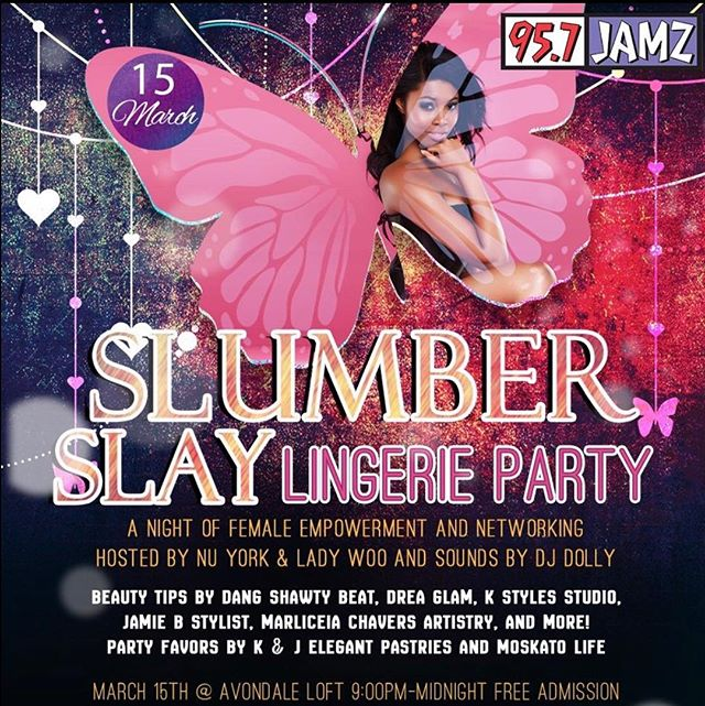 Oh this is ladies night! 💃🏾✨Tomorrow grab a friend or two & enjoy some black girl magic at #SlumberSlay Lingerie party. Free food, drinks & beauty tutorials. What more can you ask for? See you soon!