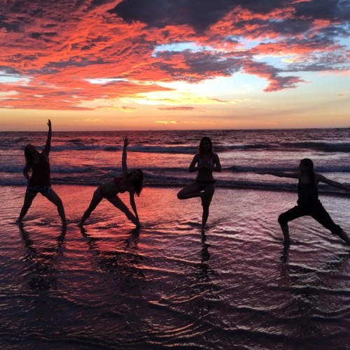 Sunset yoga at Playa Guiones