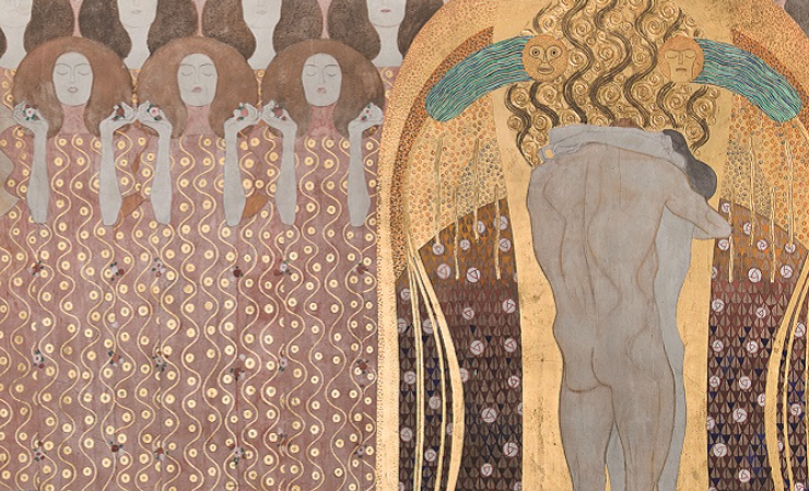 Detail of Panels 10 & 11 of the replica of The Beethoven Frieze. Original by Gustav Klimt, 1902, Österreichische Galerie Belvedere.