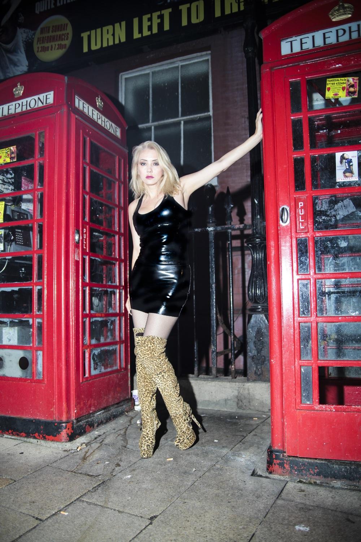 Phone Box in Soho In Shiny Latex & Leopard Boots