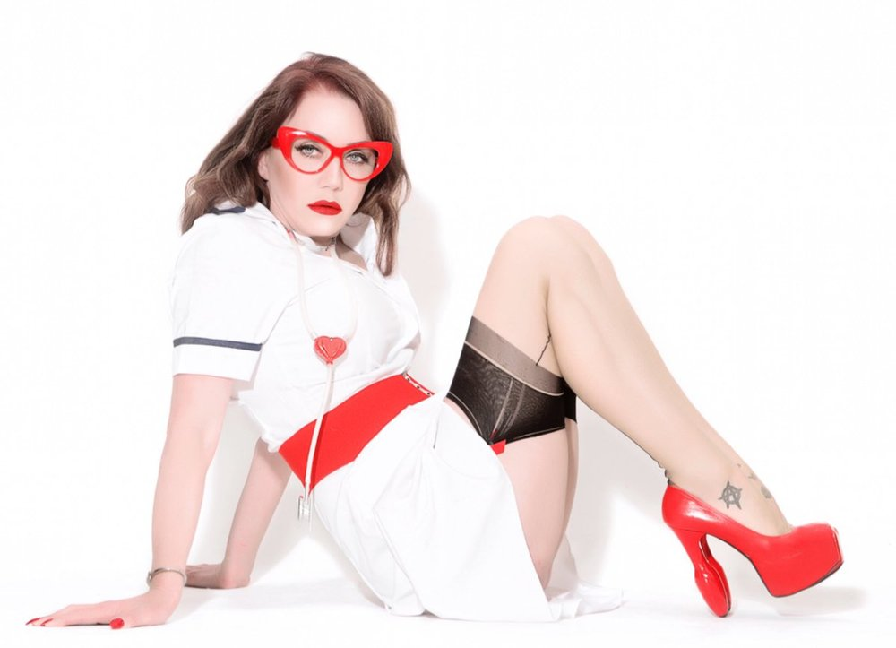 Kink Nurse in Fully Fashioned Seamed Stockings & Plug Pumps