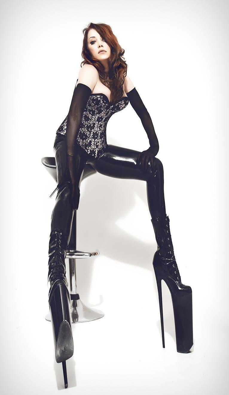 Latex Leggings, Sheer Gloves & Kinky Boots