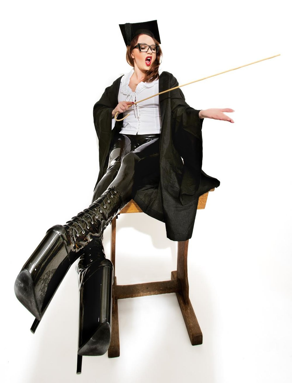Head Mistress In Kinky Boots with cane