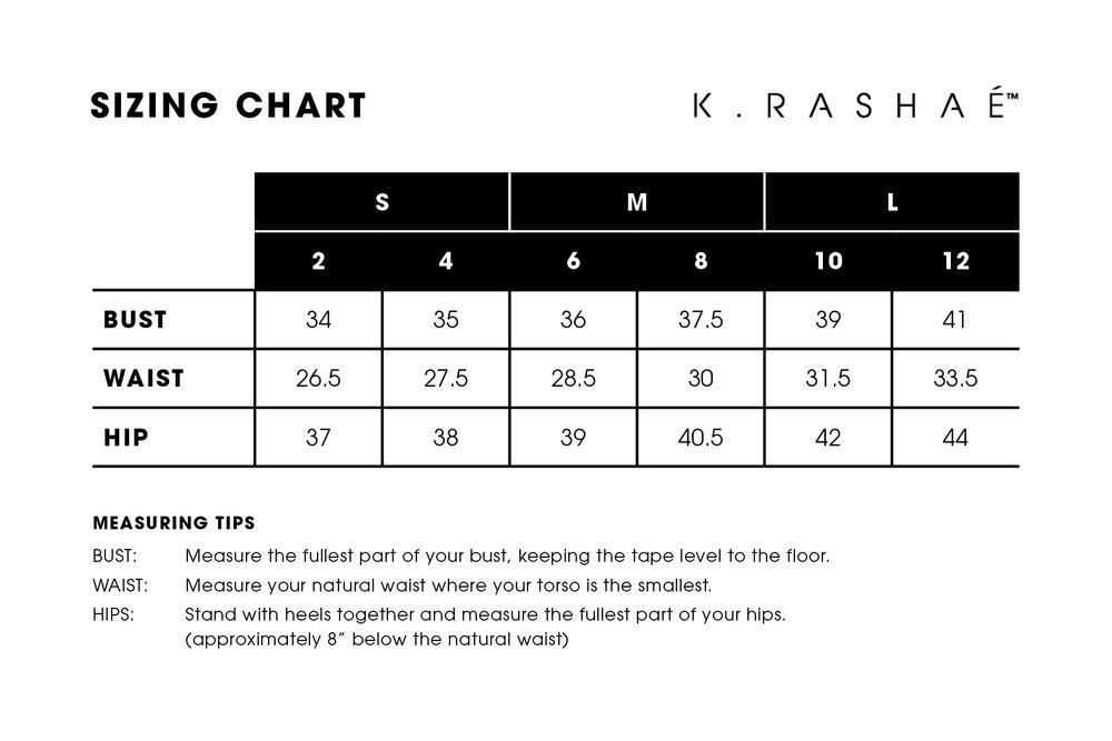 K. RaShaé Sizing Chart