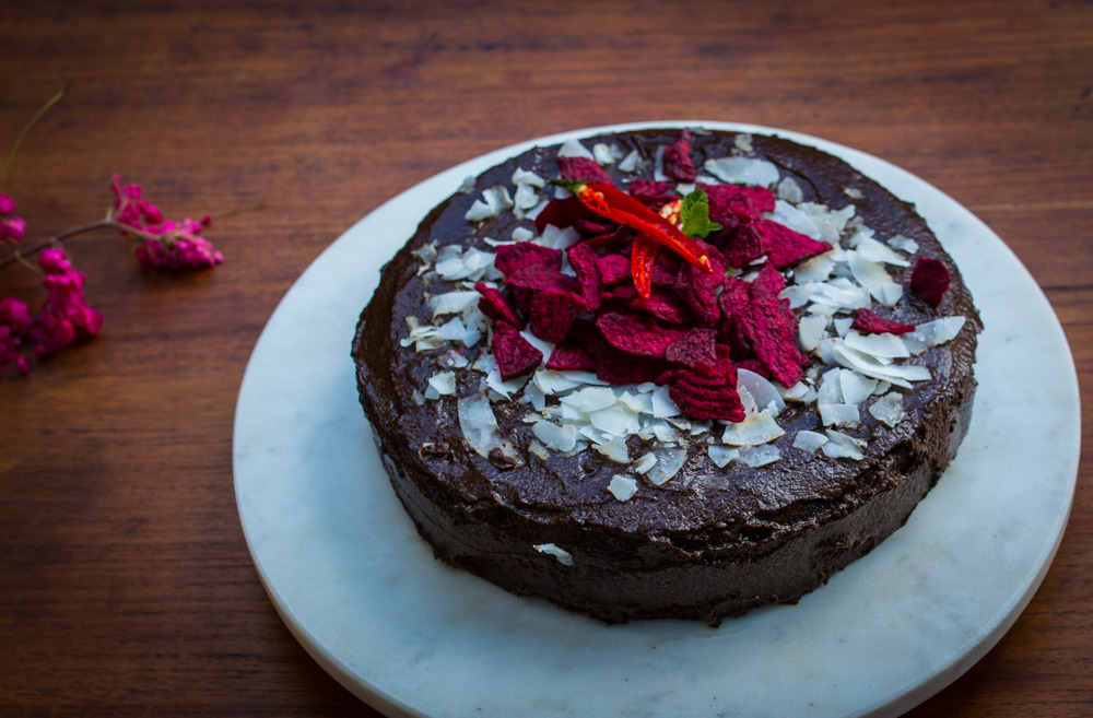 Beetroot and Carob Cake with Carob Chilli Ganache