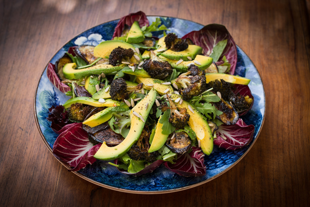 Roasted Broccoli and Eggplant Avocado Salad
