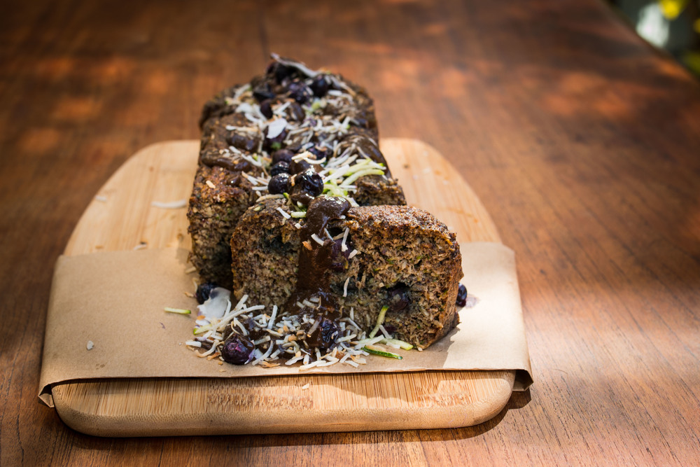 Zucchini Blueberry Loaf with Carob and Coconut Sauce