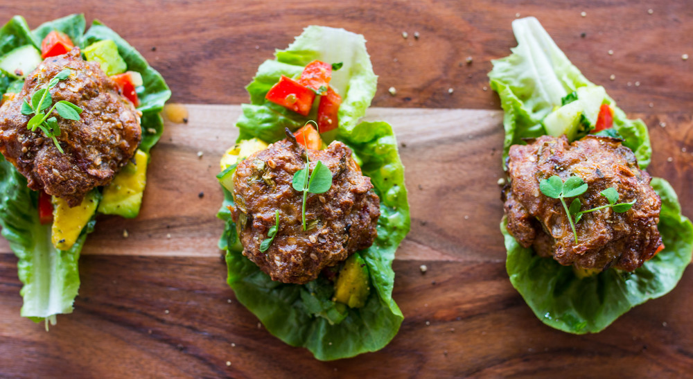 Mini Lamb Burger Lettuce Cups with Avocado Mint Salsa