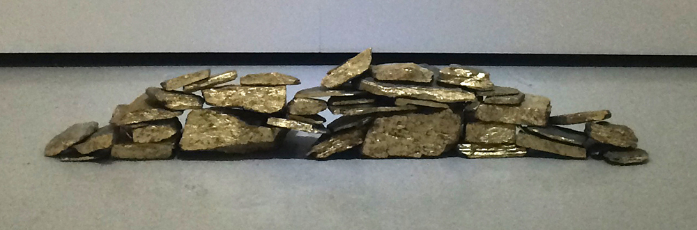 Collapse   Schist Portuguese rocks and gold leaf  2015