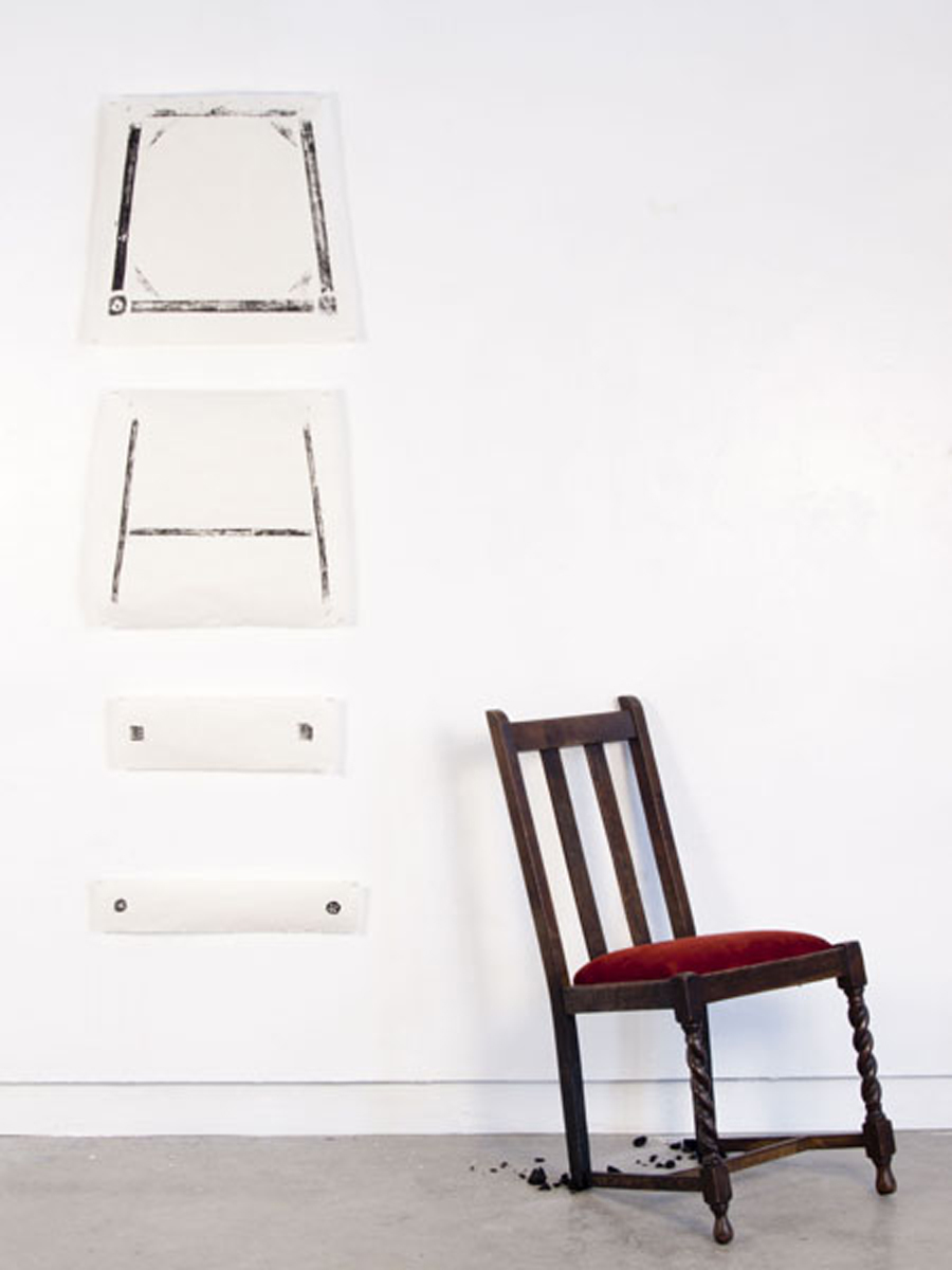 Untitled  Burned chair and relief prints on mulberry paper  2011