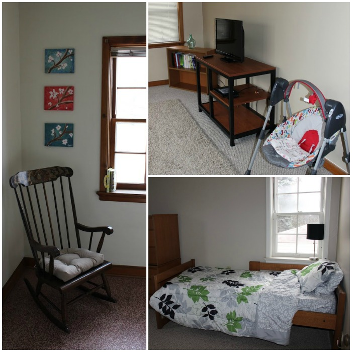 Pictures of one resident apartment. Each apartment has 2 bedrooms and each mom & baby will have to share one room. The apartments are all set up and ready for moms to move in!
