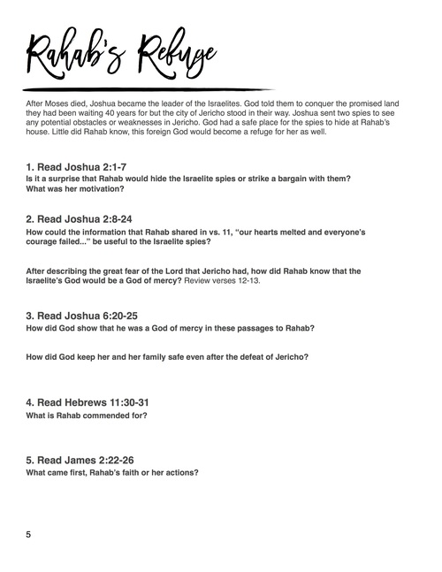 Bible study worksheets on faith