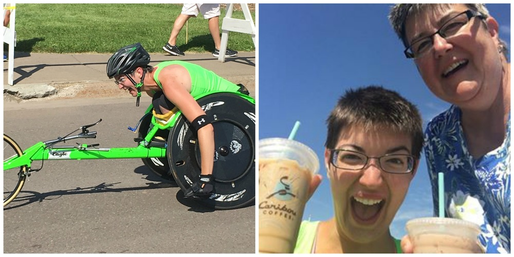 This picture was taken around mile 26. I'm laughing because of the photographer who also happens to be one of my biggest supporters, my Mom :D Naturally, we celebrated my new PR (personal record) with some Caribou Coffee:D