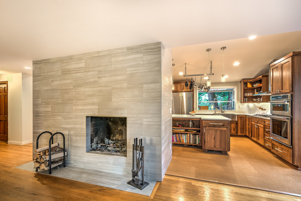 Kitchen Remodel, Dual sided fireplace, VanderBeken, Shoreline.jpg