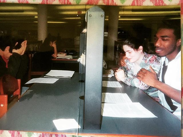 #TBT to senior year of high school. We were doing research in the library. Edwin did NOT want his photo taken.