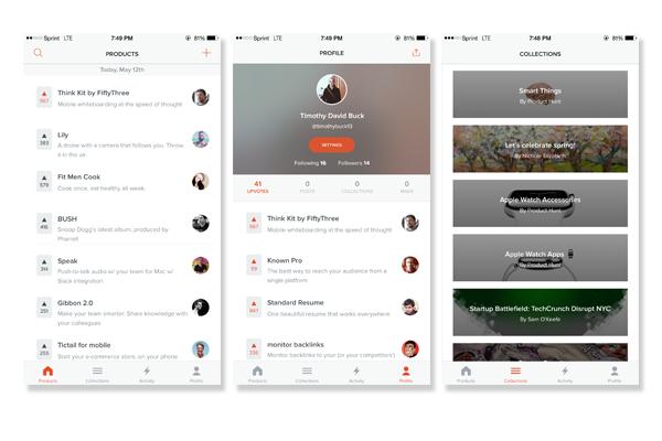 Product Hunt App Screenshots