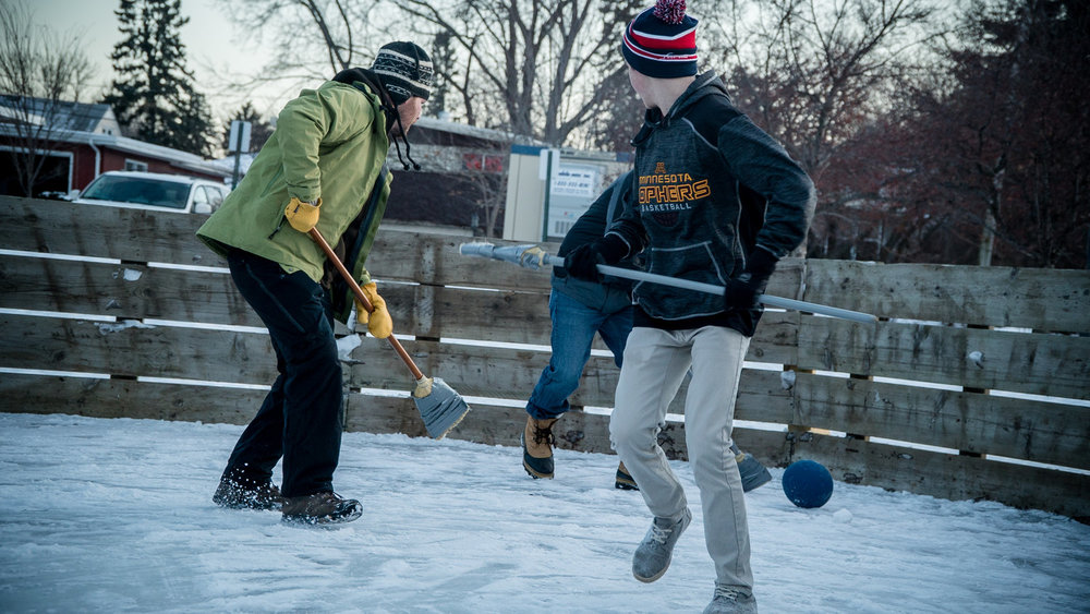 With the winter season lasting from October well into May, Minnesotans must play or perish. Broomball is the staple of the Nelson family in Roseville.