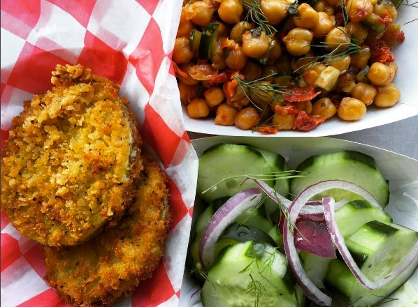 Green Hanover Tomatoes, Crispy Chickpea Salad, and Marinated Cucumbers
