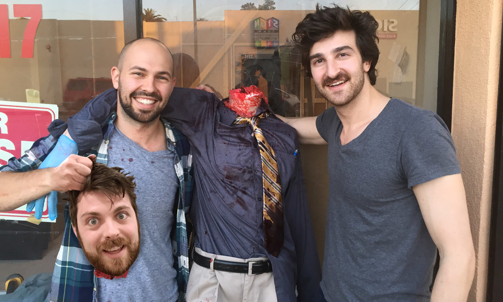 From left to right: Scott Yacyshyn, Benji Kleiman, and Stephen Cedars on the set of  SNATCHERS . Scott's okay.