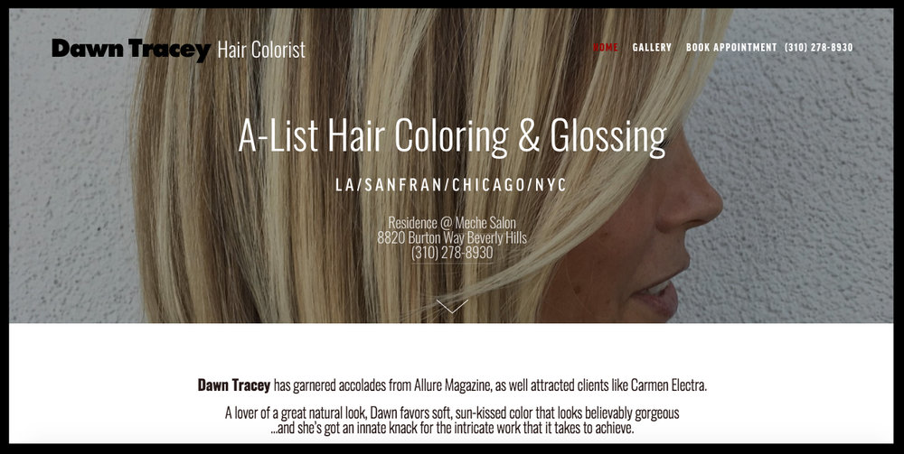 Dawn Tracey Hair - Custom Squarespace BuildOnline Scheduling IntegrationFull Site Management Training