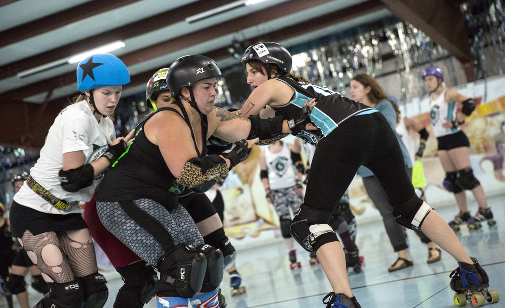 State College Area Roller Derby skakers are no joke even during Monday practices.