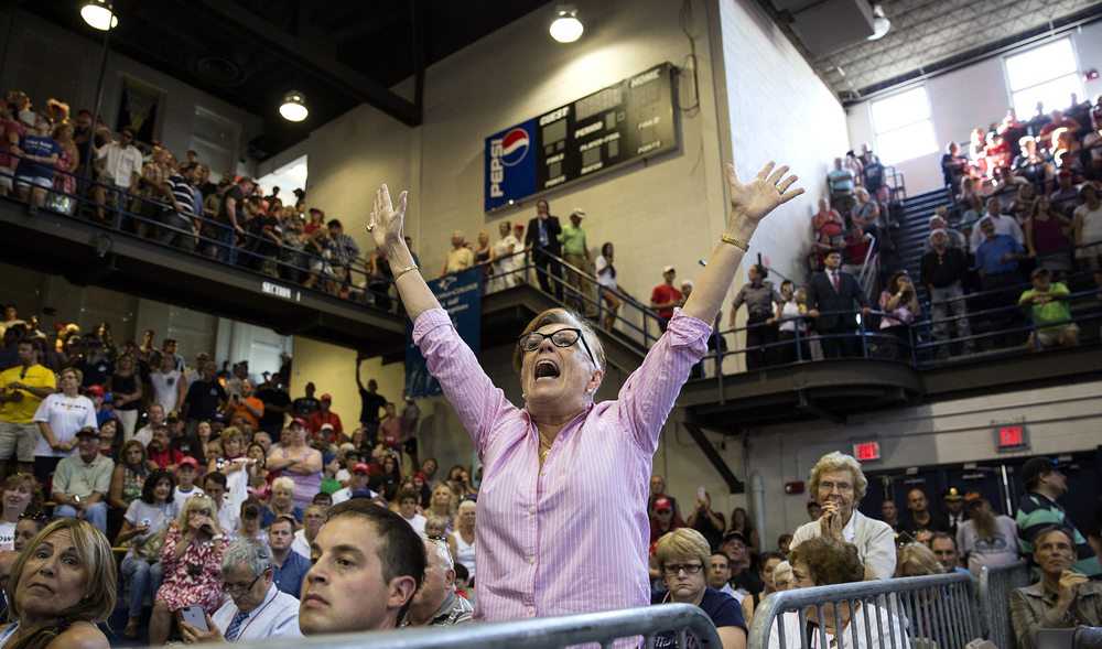 Beatrice Cabrebra, a former illegal immigrant, shouts her support for presidential nominee Donald Trump during a campaign rally in Scranton, Pennsylvania on July 27, 2016.