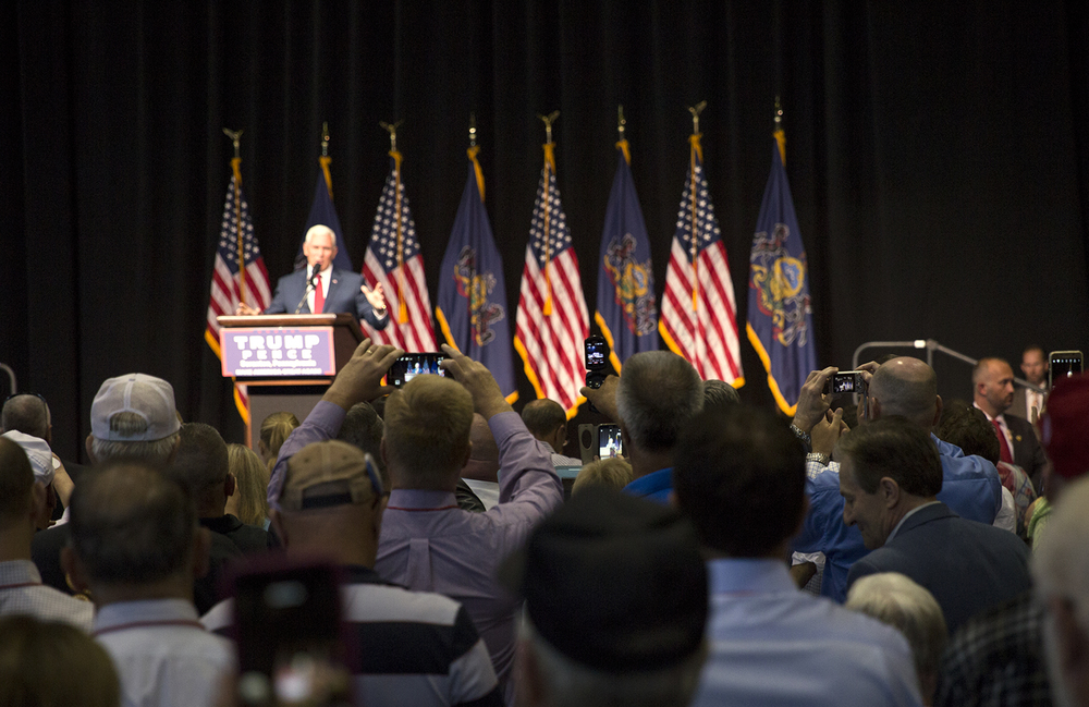 Vice Presidential candidate Mike Pence introduced Presidential candidate Donald Trump during a campaign rally in Scranton, Pennsylvania on July 27, 2016.