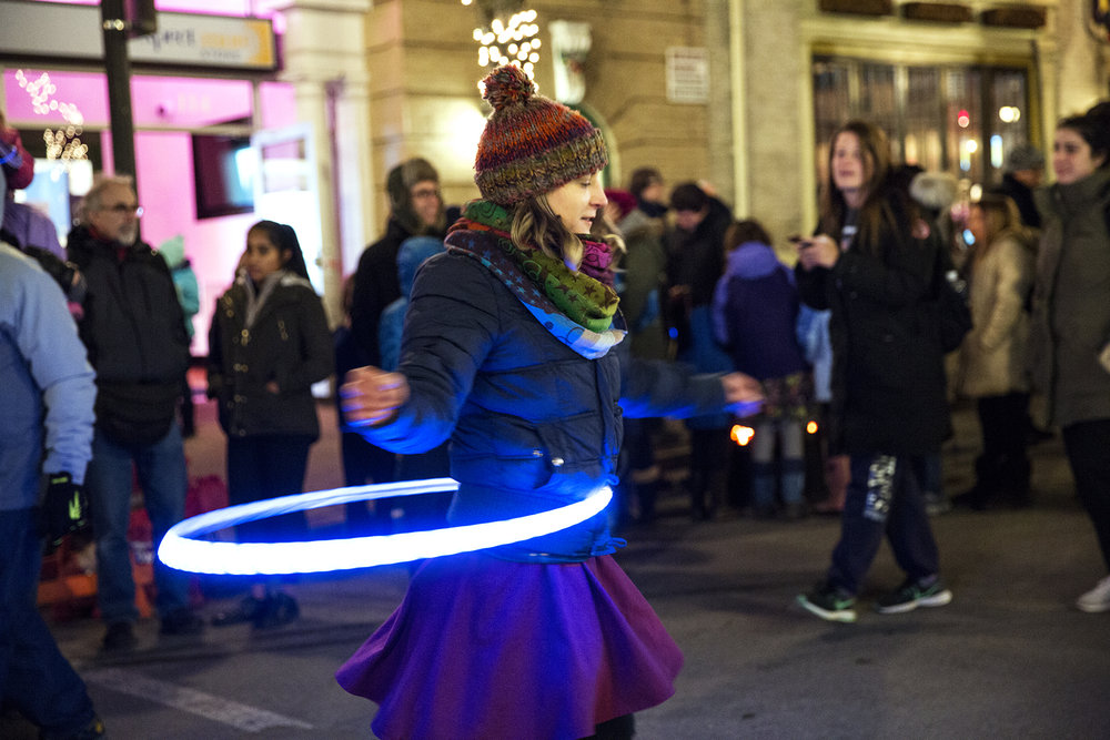Bethany Seib danced in her illuminated hula hoop during the Light Up State College event in downtown State College.