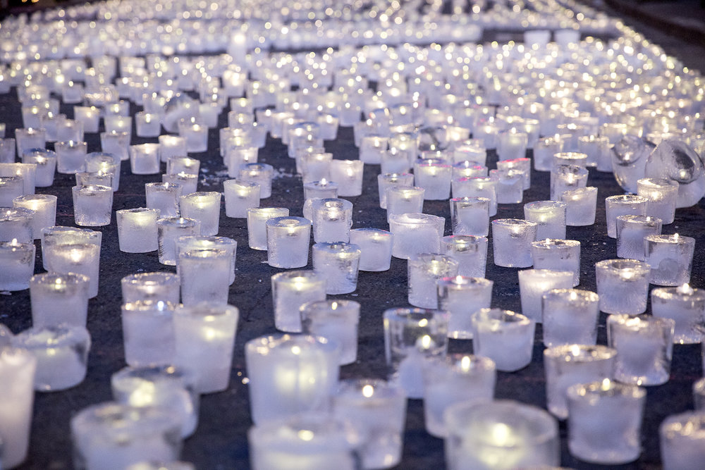 5,622 ice luminaries lit up downtown State College on February 4, breaking the Guinness World Record of the largest ice lantern display.