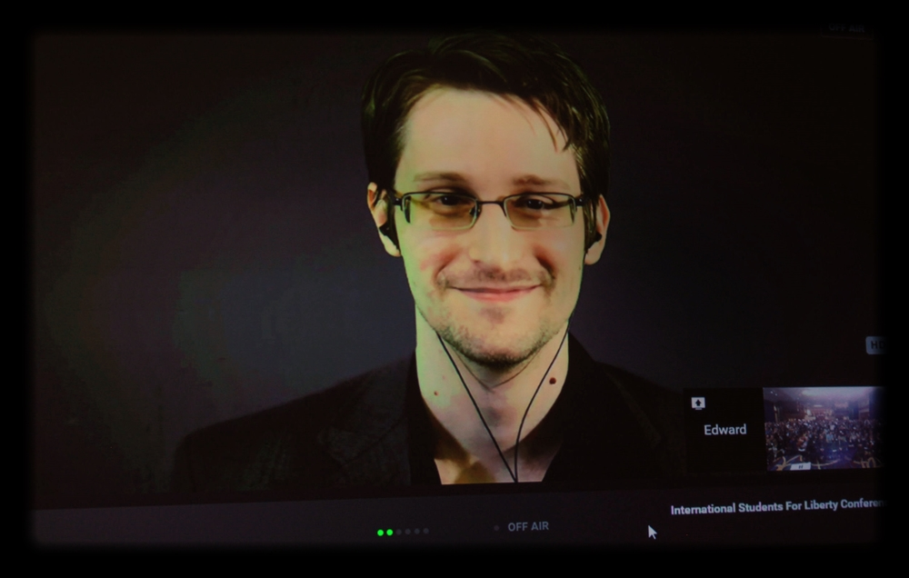 Edward Snowden speaking at the 2015 International Students for Liberty Conference; photo by Gage Skidmore via Wikimedia Commons.