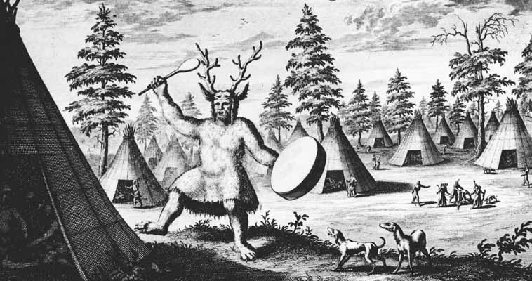 Illustration of a Siberian shaman by Dutch explorer Nicolaes Witsen via Wikimedia Commons.