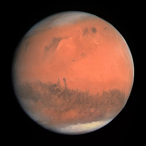 True color image of Mars taken by the OSIRIS instrument on the ESA Rosetta spacecraft during its February 2007 flyby of the planet; photo by  European Space Agency & Max-Planck Institute for Solar System Research for OSIRIS Team ESA/MPS/UPD/LAM/IAA/RSSD/INTA/UPM/DASP/IDA