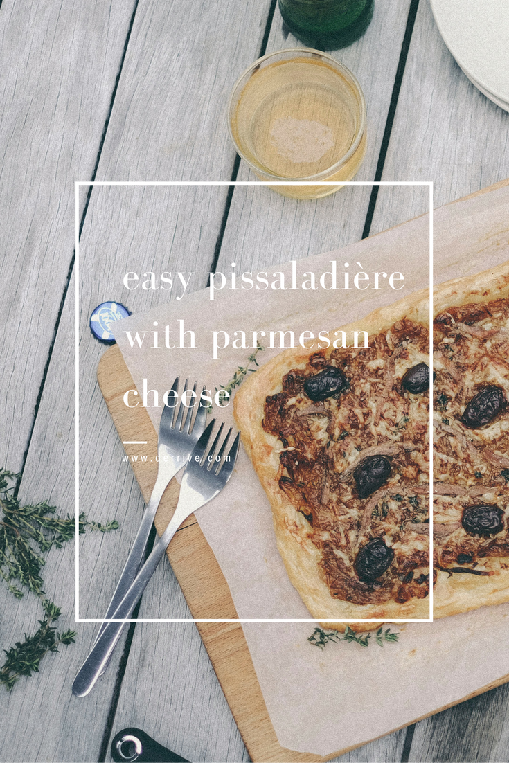 dérrive recipe -  easy pissaladière with parmesan cheese