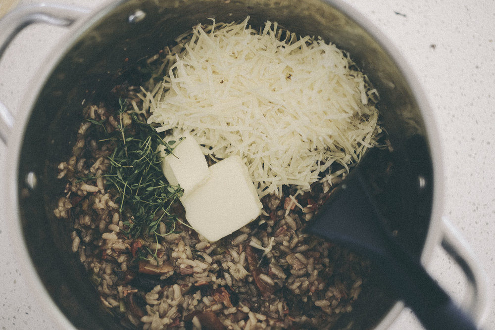 dérrive recipe - roasted mushroom, leek and thyme risotto