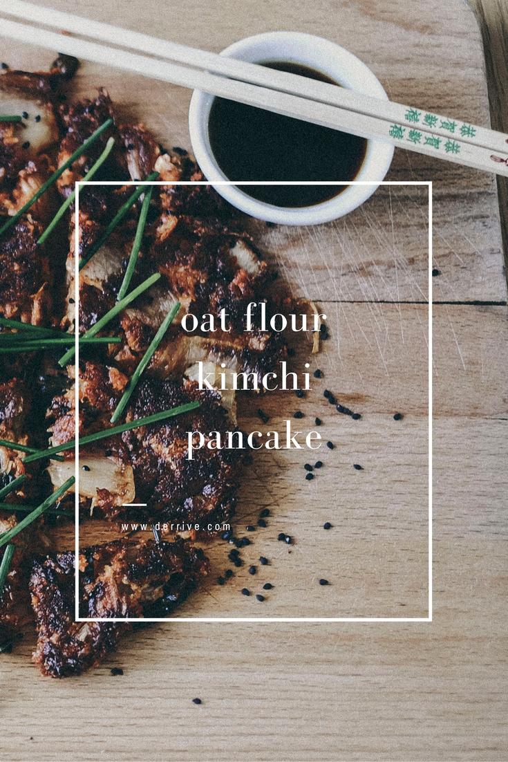 oat flour kimchi pancake recipe (gf and vegetarian) www.derrive.com