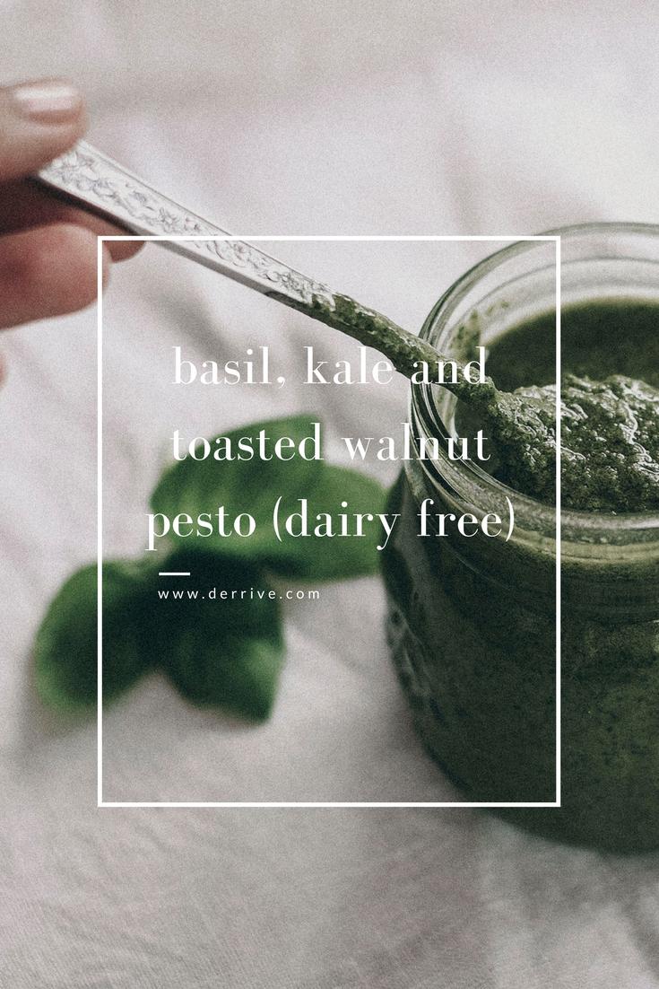 dérrive recipe - basil, kale and toasted walnut pesto (dairy free) www.derrive.com #paleo #dairyfree #whole30 #vegetarian #pesto #kale #basil