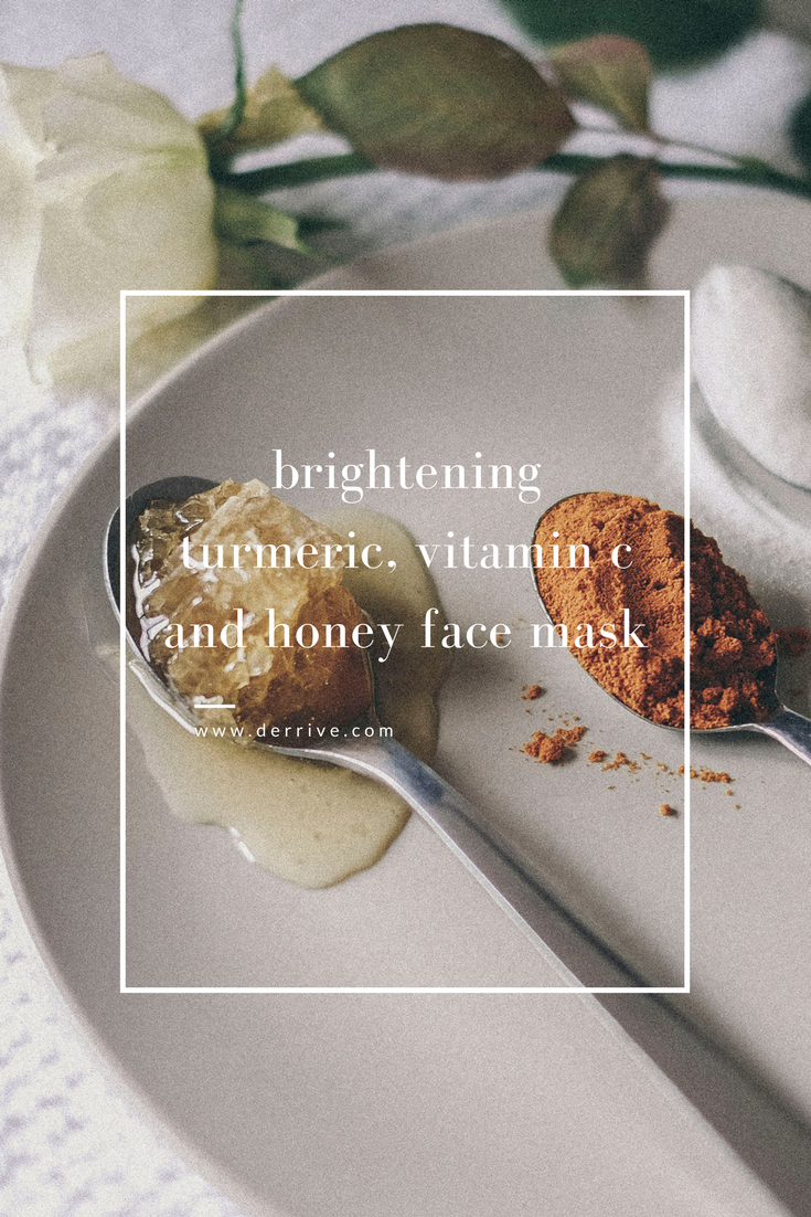 dérrive diy brightening turmeric, vitamin c and honey face mask #diy #facemask #turmeric #honey #health #wellness #clearskin