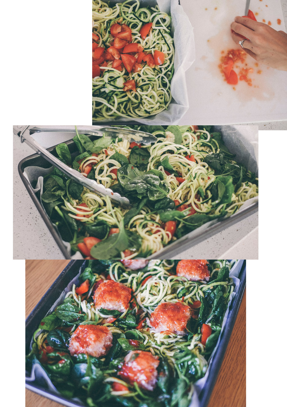 dérrive recipe - easy healthy weeknight dinner - one tray baked zucchetti and chicken meatballs www.derrive.com #paleo #whole30 #health #wellness #zucchinipasta #zucchetti