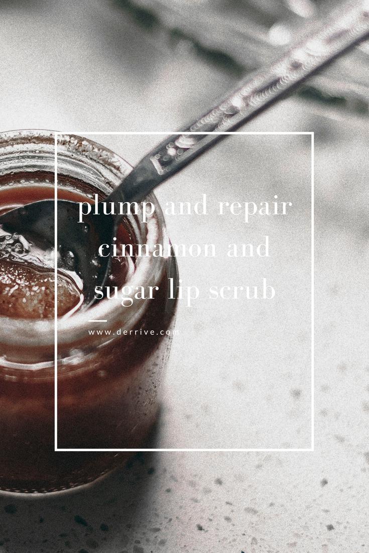 diy plumping and nourishing cinnamon and sugar lip scrub www.derrive.com #organic #natural #diy #lipscrub #cinnamon #lipscrub #honey