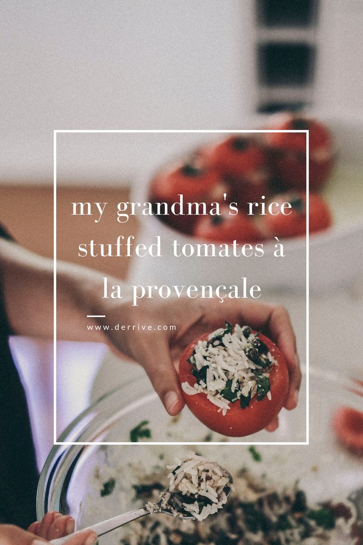 dérrive recipe - my grandma's rice stuffed tomates à la provençale www.derrive.com #tomatesprovencale #stuffedtomatoes #provicialcooking #frenchcooking #tomatoes #frenchrecipe #homecooking #easyrecipe